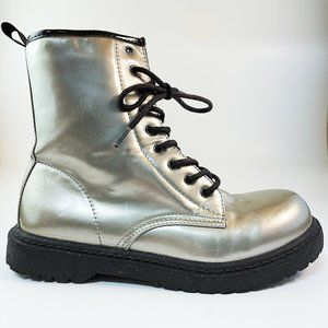 RUE 21 METALLIC SILVER LACE UP COMBAT BOOTS